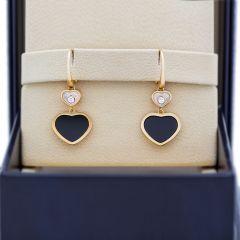 837482-5210   Buy Chopard Happy Hearts Rose Gold Onyx Diamond Earrings