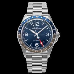 BRV293-BLU-ST/SST | Bell & Ross Br V2-93 GMT Blue 41mm watch. Buy Online