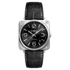 BRS92-BL-ST | Bell & Ross BR S Officer Black 39 mm watch. Buy Online