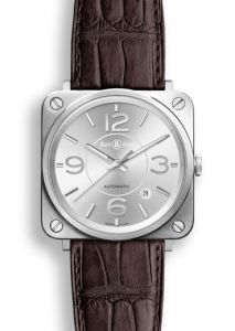 New Bell & Ross BR S Officer Silver BRS92-SI-ST/SCR