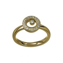 Chopard Happy Diamonds Icons Yellow Gold Diamond Pave Ring Size 52 82A017-0209