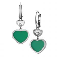837482-1011 Buy Chopard Happy Hearts White Gold Agate Diamond Earrings