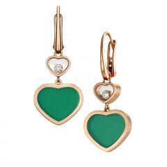 837482-5011  Buy Chopard Happy Hearts Rose Gold Agate Diamond Earrings