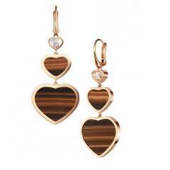837482-5203 | Buy Chopard Happy Hearts Rose Gold Tiger's Eye Earrings