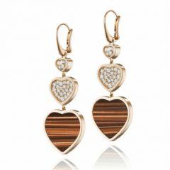 837482-5204 | Buy Chopard Happy Hearts Rose Gold Tiger's Eye Earrings