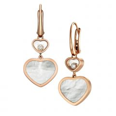 837482-5310   Chopard Happy Hearts Rose Gold Mother-of-Pearl Earrings
