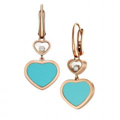 837482-5410   Buy Chopard Happy Hearts Rose Gold Turquoise Earrings
