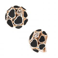 847482-5201 | Buy Chopard Happy Hearts Rose Gold Onyx Earrings