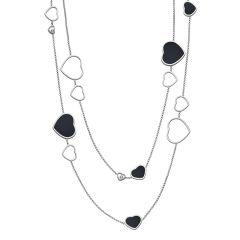 817482-1201 |Buy Chopard Happy Hearts White Gold Onyx Diamond Necklace