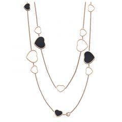 817482-5201 | Buy Chopard Happy Hearts Rose Gold Onyx Diamond Necklace