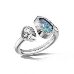Chopard Happy Hearts White Gold Opal Diamond Ring 829482-1930