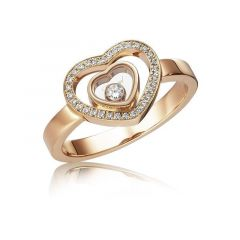 Chopard Happy Hearts Rose Gold Diamond Pave Ring Size 52 827691-5018