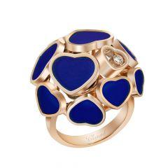 Chopard Happy Hearts Rose Gold Lapis Lazuli Diamond Ring Size 52 827482-5509