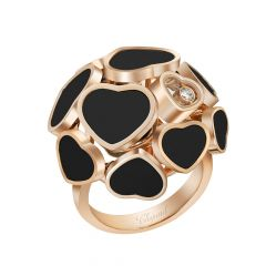 Chopard Happy Hearts Rose Gold Onyx Diamond Ring Size 52 827482-5209