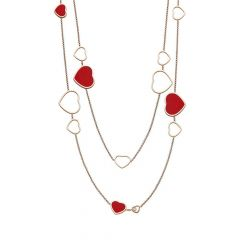 Chopard Happy Hearts Rose Gold Red Stone Diamond Necklace 817482-5801