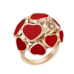 Chopard Happy Hearts Rose Gold Red Stone Diamond Ring Size 52 827482-5809
