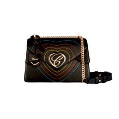 95000-0954|Buy Chopard Happy Hearts Rainbow Black Leather Shoulder Bag