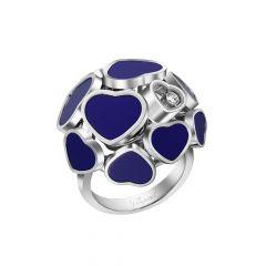 Chopard Happy Hearts White Gold Lapis Lazuli Diamond Ring Size 52 827482-1509