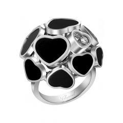 Chopard Happy Hearts White Gold Onyx Diamond Ring Size 52 827482-1209