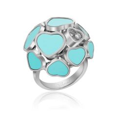 Chopard Happy Hearts White Gold Turquoise Diamond Ring Size 52 827482-1409