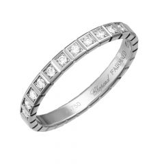 Chopard Ice Cube White Gold Diamond Half-Set Ring Size 52 827702-1038