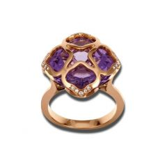 Chopard IMPERIALE Rose Gold Amethyst Diamond Ring Size 52 829726-5009