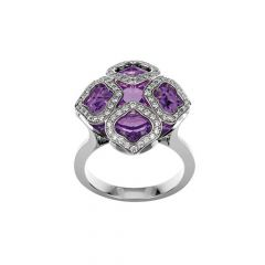 Chopard IMPERIALE White Gold Amethyst Diamond Ring Size 52 829726-1009