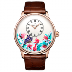 J005033283 | Jaquet Droz Petite Heure Minute Butterfly Journey Red Gold