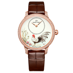 J005003222 | Jaquet Droz Petite Heure Minute Rooster Red Gold 35 mm