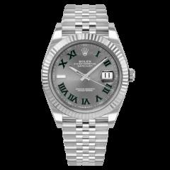 126334 | Rolex Datejust 41 Oyster Perpetual Wimbledon Oystersteel Case White Gold Bezel Jubilee Bracelet watch. Buy Online