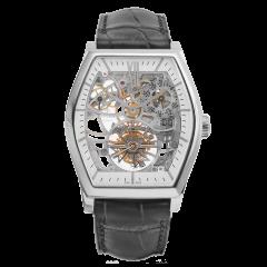 Vacheron Constantin Malte Tourbillon Openworked 30135/000P-9842. Manual winding 38 x 48.24 mm watch, platinum 950 case and black alligator mississippiensis strap.