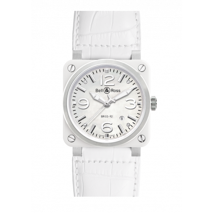 New Bell & Ross BR 03-92 White Ceramic LS BR0392-WH-C/SCA